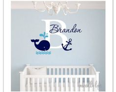 Name Wall Decal Whale Wall Decal Nautical by PinkiePeguinShop