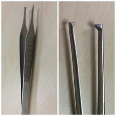 PINZA DENTADA. Para disección. Normalmente viene con un único diente. Cuando hacemos la compresión con la pinza se puede perforar tejido. Para cirugía podológica la mas usada es la Adson Brown.