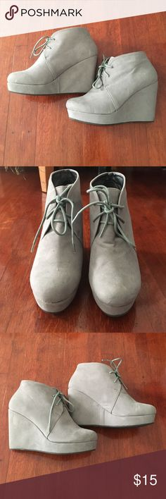 SALE❗️Forever 21 Gray Lace-up Wedge Booties Faux suede lace-up wedge booties. Size 5 but runs big. Few markings from wear but appear faint. Still in good condition. Wish I didn't have to see these go! Weekend special sale price for Veteran's Day. Price will go back up on Monday. Price is firm unless bundled. Forever 21 Shoes Ankle Boots & Booties