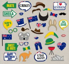 Australian Party props, diy photo booth printables - 9 x Speech Bubbles, 26 x Items Just purchase the digital file to print and cut out at home. --------------------------------------------------------------------------------------------------- - - - LISTING INCLUDES - - - 1. 9 x Speech Bubbles 2. 26 x Items 3. 1 x Printable photo booth sign 2 PDF documents for easy printing. This listing is for a digital file(s) of design shown only. All Digital Files will be sent as PDF(s) ------------...