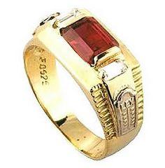 Anel de formatura bioclínico  em ouro 18k 750 1 pedra vermelha semi preciosa 2 Zirconias brancas