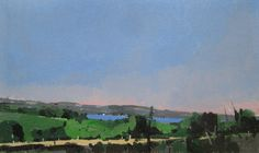 Evening Lake Original Summer Landscape Painting on by Paintbox