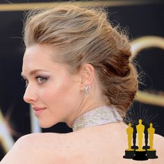 Oscars The Best Red Carpet Updos - Amanda Seyfried - click through to see more hair inspiration! Oscar Hairstyles, Celebrity Hairstyles, Wedding Hairstyles, Cool Hairstyles, Red Carpet Updo, Amanda Seyfried Hair, Side Chignon, Bridal Hair Updo, Black And Blonde