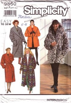 Misses Lined Coat and Tie Belt in Three Lengths.  Size 6-24 (PT-XL) Uncut and Factory Folded.