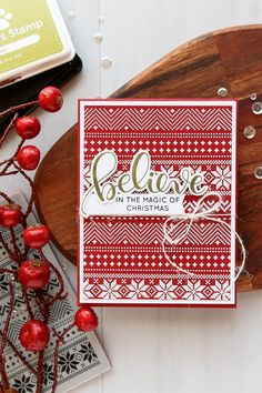 Simon Days Stamp Christmas Sweater Stamp, Believe Wafer Die, Believe In The Season Stamp Set. Christmas Cards 2017, Stamped Christmas Cards, Christmas Paper Crafts, Xmas Cards, Holiday Cards, Christmas Sayings, Nordic Christmas, Handmade Christmas, Christmas Christmas