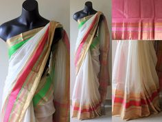 Off- white Maheshwari Silk Cotton Saree comes with a contrast borders & attached blouse. Fashion Hub, Ethnic Fashion, Womens Fashion, Saree Dress, Sari, White Saree, Silk Cotton Sarees, Indian Outfits, Indian Clothes