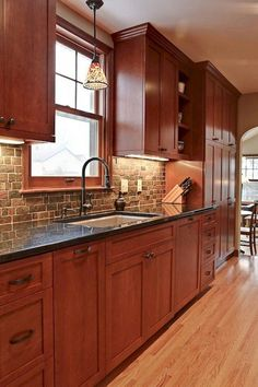 Remodeling Kitchen Countertops 98 Amazing Kitchen Backsplash Decorating Ideas and Remodel Backsplash With Dark Cabinets, Dark Kitchen Cabinets, Backsplash Ideas, Kitchen Sinks, Taupe Kitchen, Cherry Wood Cabinets, Granite Backsplash, Narrow Kitchen, Wall Cabinets