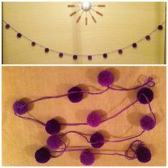 pompom garland in purple