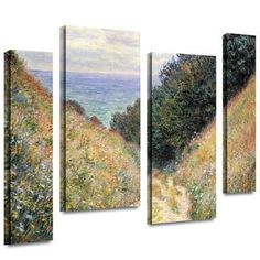 Footpath 4 piece gallery-wrapped canvas Gallery Wrapped Canvas Set by Claude Monet at Art.com