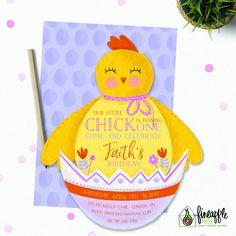 Chick Birthday Invite, Easter Invite Birthday, Easter Invitation, Chick Invite, Chick, Easter, DIY Birthday, Spring Birthday by FineapplePair on Etsy