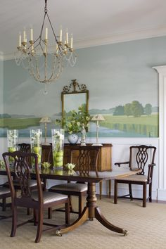 Federal Dining Room With A Landscape Mural