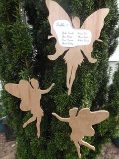 A fantastic idea that we were asked to do, hanging fairies that have the tabe plans on (this is just a mock up, I'm sure they did a better job of listing the names than this)