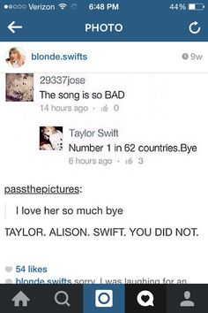 I am beginning to like this Taylor Swift girl with every sassy moment.