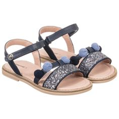 7dfca1fb0a328 Mayoral - Girls Blue Pom-Pom Sandals
