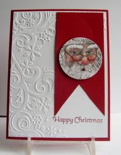 What a beautiful Santa card! Homemade Christmas Cards, Christmas Cards To Make, Christmas Paper, Xmas Cards, Handmade Christmas, Homemade Cards, Holiday Cards, Santa Christmas, Tarjetas Stampin Up