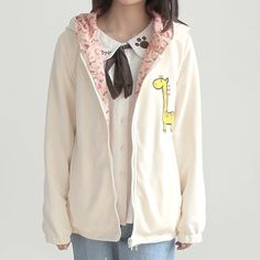 Blue/Beige/Pink Mori Girl Kawaii Girafe Fleece Hoodie Coat SP154021