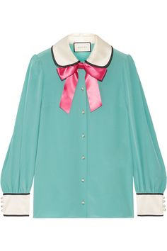 Gucci - Bow-embellished Satin-trimmed Silk Crepe De Chine Blouse - Jade - IT38