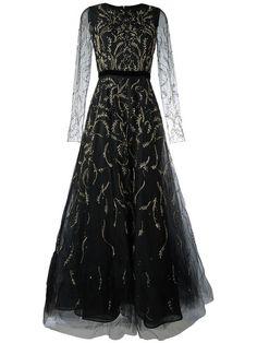 Oscar de la Renta tulle embroidered dress. sheer illusion vines ivy flowers floral black wedding gown gothic wedding dress nontraditional wedding