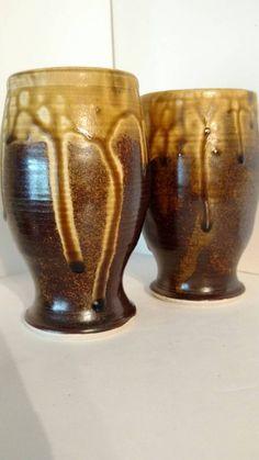 Pair of beer glasses goblets brown and salt by AngelaNGraham