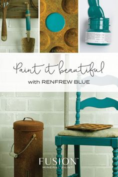 Renfrew Blue by Fusion Mineral Paint. Our famous and super popular teal-blue, looks great with yellows, reds and grey-taupes. Diy Painting, Painting On Wood, Painted Furniture For Sale, Furniture Makeover, Diy Furniture, Redoing Furniture, Transforming Furniture, Favorite Paint Colors, Paint Types