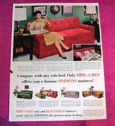 Image detail for Vintage Ad Simmons Beautyrest Hide A Bed Sofa Color Vintage Advertisements, Vintage Ads, Simmons Beautyrest, Hidden Bed, Sofa Colors, Bed Sofa, Advertising, Detail, Retro