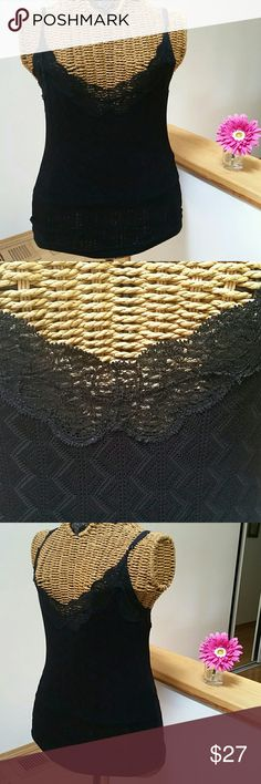 """RALPH LAUREN black label lace cami S RALPH LAUREN black label cami  Gorgeous cami u will love  It has a layer of material underneath so can be worn as a tank  Viscose polyamide soft stretchy  Textured  Lace trim  Adjustable spaghetti straps  Underarm to underarm 14"""" unstretched  Top of shoulder to hem 20.5""""  New without tags Ralph Lauren Tops Camisoles"""