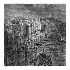 Etching of Old London Bridge