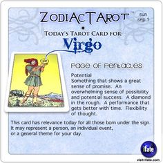 Daily tarot card for Virgo from ZodiacTarot! Ok, you know what your sign is.  But do you know what your Birth Moon is?  Visit iFate.com today and find out!