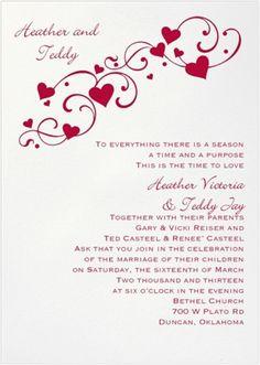 Red hearts wedding invitations from David's Bridal