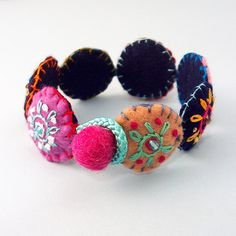 Little Flower Felt Bracelet --- Colors of the Rainbow by Katrin Lerman, via Flickr