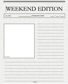 Class Newspaper Template Tpt Language Arts Lessons Writing
