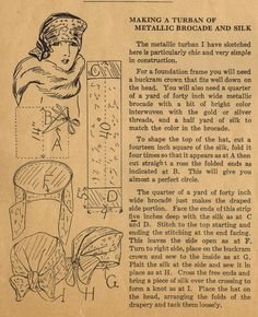 The Midvale Cottage Post: Home Sewing Tips from the 1920s - Sewing a Chic Turban