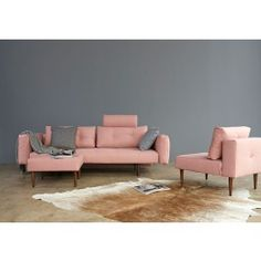 Innovation Slaapbank Recast Plus - Armleuningen - Soft Coral 557 - Zalm roze Small Space Living, Living Spaces, Innovation Sofa, Canapé Convertible Design, Beds For Sale, New Room, Daybed