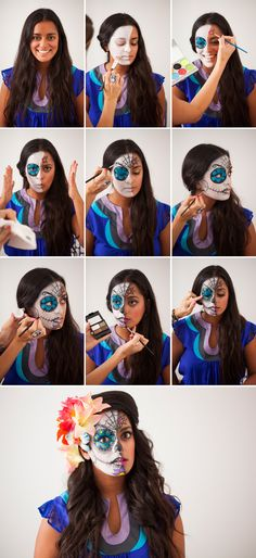 15 + Step by step Halloween Make Up Tutorials for Beginners and Learners 2014 - Schmink mein Leben - Amazing Halloween Makeup, Halloween Diy, Halloween Face, Halloween Costumes, Vintage Halloween, Helloween Make Up, Helloween Party, Maquillaje Sugar Skull, Sugar Skull Makeup Tutorial