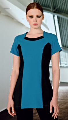 Teal contrast bolero tunic featuring black side panels suitable for many professions including beauty, hairdressing, salon, spa and cosmetic careers.  Shop at www.simonjersey.com for beauty tunics, beautician uniforms, beauty therapist's tunic, salon uniforms, spa uniforms, hairdressing tunics.  Perfect for many work places including beauty salons, spas, hairdressing salons, cosmetic surgeries, dog grooming salons, hotels, boutique hotels and more.