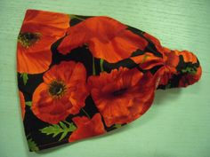 Black with Big RED Poppies  Wide Headband  by by FrecklesGarden