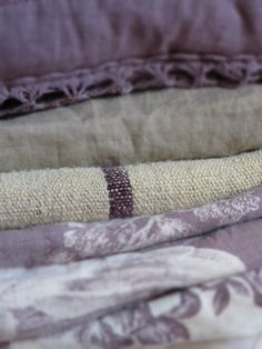 Purple toile with linen and grain sack. For my master bedroom. Photo by Sophie Ingerslew.