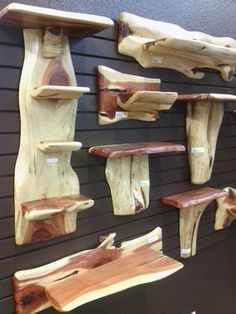Timber Ranch Logworks rustic and log shelving and wall decor. Cedar Furniture, Rustic Log Furniture, Western Furniture, Furniture Design, Rustic Wood, Rustic Decor, Woodworking Plans, Woodworking Projects, Log Projects
