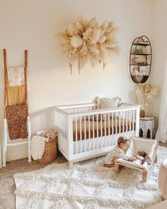 Project Nursery on OK, how gorgeous is this pampas wall hanging for this precious neutral nursery. TAP image to shop this crib, baby rocker and more -- Baby Room Design, Nursery Design, Baby Bedroom, Baby Room Decor, Baby Room Rugs, Room Baby, Girl Nursery, Girl Room, Boho Nursery