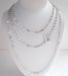 ITALY 14K WHITE GOLD over 925 STERLING SILVER POLISH OPEN LINK CHAIN NECKLACE 60 #AuthenticItalianCraftsmanship #Chain