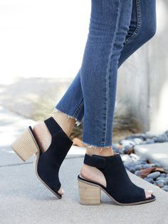 Blue suede slingback booties with walkable block heels, perfect for your summer to fall transition | Sole Society Jagger
