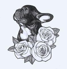 French Bulldog sketch by Jeroen Teunen. Tattoo Design , Roses , Frenchie , Bulldog #ILoveTattoos!