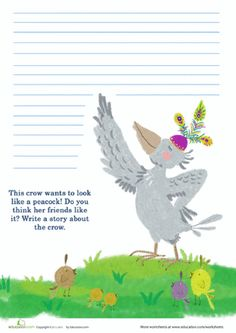 Second Grade Composition Worksheets: Peacock Writing Prompt