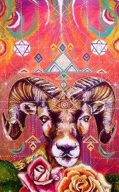 Mouflon Ram cosmique avec les lunes Roses et art visionnaire sacrés patrons native par Isabel Bryna