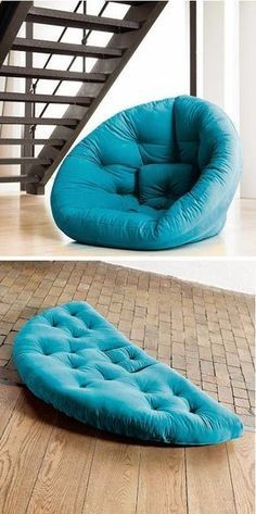 Nido Transformer Lounger - Can be used as a bed or zip into a lounge chair. Great for movie nights or overnight guests. Seems like great kids/basement/res room overflow seating. Diy Furniture, Furniture Design, Sewing Projects, Diy Projects, Bean Bag Chair, Diy Home Decor, Decor Room, Upholstery, Lounge