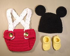 Photo Prop Hand Crocheted Mickey Mouse Costume for Newborn to 2 Months | eBay