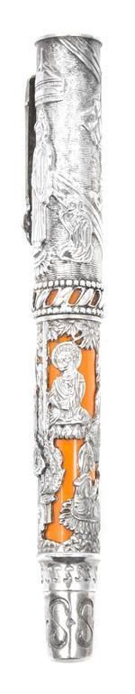 An Omas Silver Mounted Resin Fountain Pen Length 5 3/4 inches.