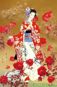 Geisha Art By Haruyo Morita Art Geisha, Geisha Kunst, Samurai, Asian Artwork, Art Chinois, Art Asiatique, Bild Tattoos, Art Japonais, Japanese Painting