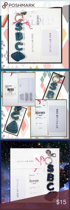 """SEE by CHLOE Teal Acrylic Logo Key Chain Fob NWT Teal colored Logo key chain/fob; Acryllic letters: S B C attached with polished silver-tone rings and terminating with a triangular shaped tag with etched outer stitching and a smaller triangular shaped tag on top Signature etched with """"SEE BY CHLOÉ""""; top of fob has a key ring plus a lobster clasp and an engraved Signature charm. Made in Italy. Includes Signature authenticity card and tag. Color is stated as """"Peppermint"""" but is Teal - 5"""" long…"""
