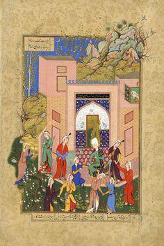 یوسف در باغ زلیخا با ندیمه های او، منسوب به شیخ محمد، مشهد، 1560 میلادی، گالری هنر فریر TITLE: Yusuf Preaches to Zulaykha's Maidens in Her Garden  OWNER: Freer Gallery of Art  COUNTRY OF ORIGIN: Iran  DATE OF CREATION: 1560 AD